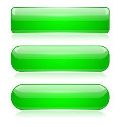 Green 3d glass buttons vector