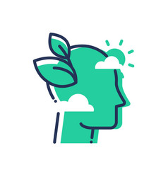 green mind - modern single line icon vector image