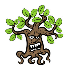 Halloween scary tree with a grin vector