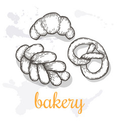 hand drawn decorative bakery template vector image