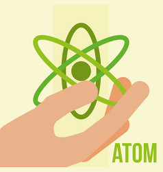 hand holding atom molecule energy vector image