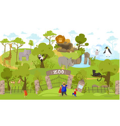 Happy family going to zoo exotic animals cartoon vector