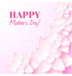 Happy mothers day greeting card with pink flowers vector