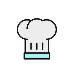 hat chef cook flat color line icon isolated on vector image