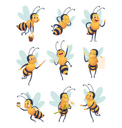 honey bee cartoon characters flying nature insect vector image