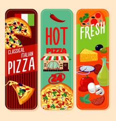 Hot italian pizza vertical banners vector