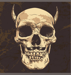 Human skull with horns art hand drawn vector