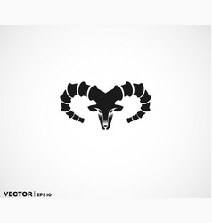 Ibex head big horn logo vector