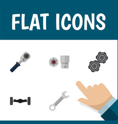 icon flat service set of wrench spherical joint vector image