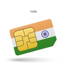 India mobile phone sim card with flag vector