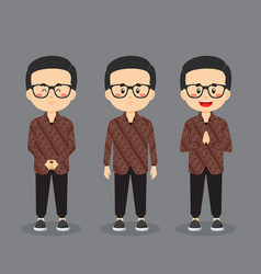 Indonesian character with various expression vector