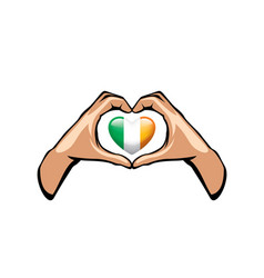 ireland flag and hand on white background vector image
