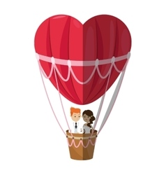 Isolated hot air balloon and heart design vector image