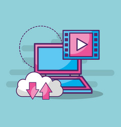 laptop cloud storage video player button vector image