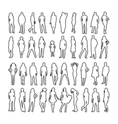 large set detailed people silhouettes outline vector image