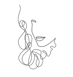 line art abstract beautiful female face 20 vector image