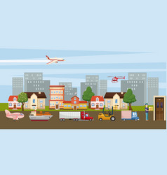 logistic horizontal banner city cartoon style vector image