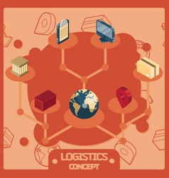 logistics color isometric concept icons vector image