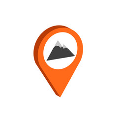 map pointer with mountain symbol flat isometric vector image