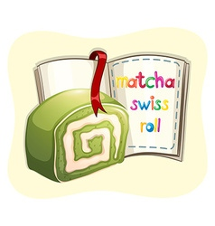 Matcha swissroll and a book vector image