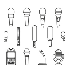Microphones outline icons vector image