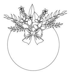 Monochrome contour with circular floral spring vector