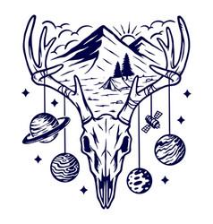 mountain and deer skeleton vector image