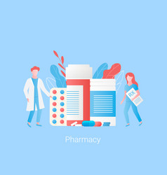 Pharmacy concept doctor pharmacist and drugs vector