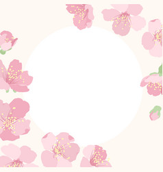 Pink cherry sakura flower blossom border frame vector