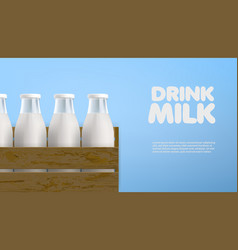 realistic milk bottles in the wood box vector image