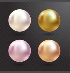 realistic varicoloured pearls set on vector image