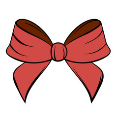 Red bow icon cartoon vector