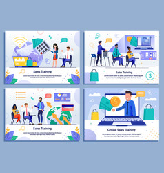 Sales coaching and online training flat banner set vector