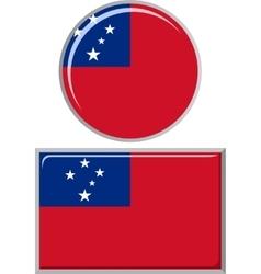 Samoa round and square icon flag vector