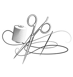 Scissors and needle with thread vector