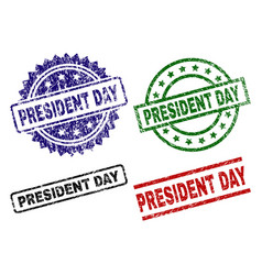 scratched textured president day seal stamps vector image