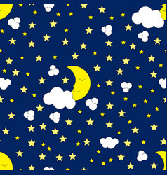 Seamless moon and stars pattern vector