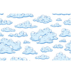 Seamless pattern with blue fluffy clouds hand vector