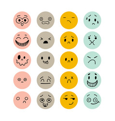 set hand drawn funny smiley faces sketched vector image