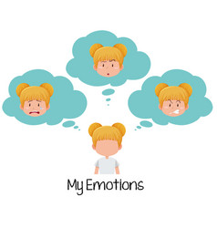 set of blonde girl with facial expression vector image