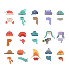 Set of Clothes for Cold Weather to Boys and Girls vector