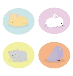 Set of cute animals sleeping vector image