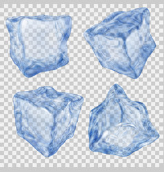 set of transparent blue ice cube vector image
