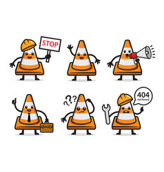 Set traffic cone character design vector