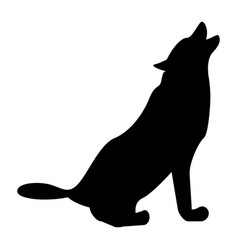 Silhouette of the wolf black color icon vector