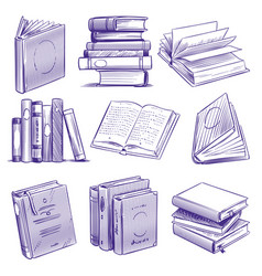 sketch books vintage hand drawing pile book vector image