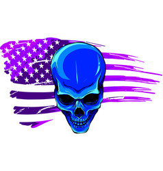 Skull with american flag vector
