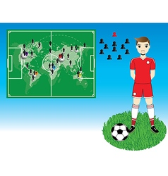 Soccer player with world map on blue background vector image