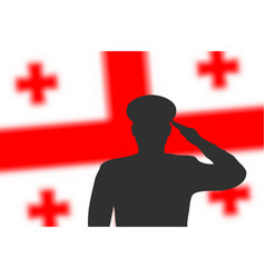 solder silhouette on blur background with georgia vector image