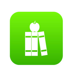 stack of books and apple icon digital green vector image